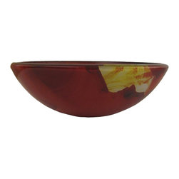 "Novatto - ASIATICO Burnt Orange Floral Design Glass Vessel Sink, 16.5-Inch Diameter - As an industry leader in glass vessels, Novatto uses advanced technology to produce beautiful glass basins with unmatched structural integrity and longevity. Constructed of thick 3/4"" high tempered glass, Asiatico exudes elegance with its colorful burnt orange floral design. Internal testing has found these vessel sinks to be very durable and forgiving. Items such as toothbrushes or small jewelry should not scratch the surface. For best cleaning results, a soft cloth with mild soap and water or a non-abrasive glass cleaner is recommended. Made with the highest standards of quality and creative design, Novatto sinks add art and function to any bath or powder room at an affordable price."
