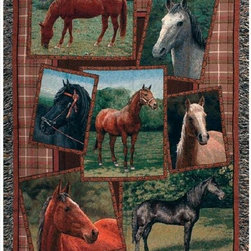 Manual - Horsing Around Horse Print Tapestry Throw Blanket 50 Inch x 60 Inch - This multicolored woven tapestry throw blanket is a wonderful addition to your home or cabin. Made of cotton, the blanket measures 50 inches wide, 60 inches long, and has approximately 1 1/2 inches of fringe around the border. The blanket features a print of a collage of horse photographs. Care instructions are to machine wash in cold water on a delicate cycle, tumble dry on low heat, wash with dark colors separately, and do not bleach. This comfy blanket makes a great housewarming gift that is sure to be loved.