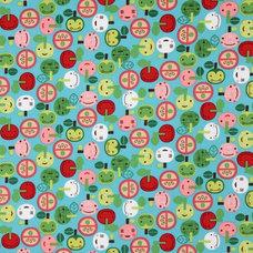 Kids Decor blue kawaii apple fabric with faces Robert Kaufman