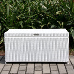 """Jeco - Outdoor White Wicker Patio Storage Deck Box - """"Bring a natural element into your home with our Resin Wicker Storage Trunk. This stylish deck box is perfect for any room. Use it indoors to store extra blankets, pillows or towels in a guest room bathroom or outdoors to enhance the appearance of your backyard. This wicker trunk features a steel frame with tightly woven resin wicker panels. Hinged top lid allows for easy opening convenience. The top also features a chain stopper to prevent the top from flipping backwards. Handles on both sides of the trunk make portability easy."""
