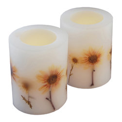 LumaBase Luminarias - Wax Flickering LED Candles-  Dried Flowers- 2 Count - Highlight your home or event with these real wax flickering LED candles. These flameless candles provide warm amber light with a realistic flicker. Perfect to use on tabletops, windowsills or mantels.