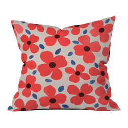 DENY Designs - Garima Dhawan Dogwood Red Outdoor Throw Pillow - Do you hear that noise? it's your outdoor area begging for a facelift and what better way to turn up the chic than with our outdoor throw pillow collection? Made from water and mildew proof woven polyester, our indoor/outdoor throw pillow is the perfect way to add some vibrance and character to your boring outdoor furniture while giving the rain a run for its money. Custom printed in the USA for every order.