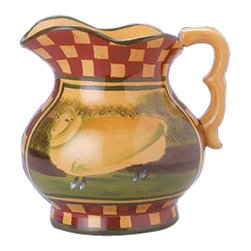 "Renovators Supply - Stoneware Tan/Brick Ceramic White Sheep Pitcher - This barnyard pitcher is hand-painted by a country artist.  It is approximately 6"" high."
