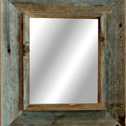 MyBarnwoodFrames - Western Rustic Mirror Reclaimed Barnwood 20x24 frame - A western mirror doesn't get any more authentic than this. Built from reclaimed barnwood harvested in the heart of the American West, these handmade rustic mirrors will complement any country rustic decor.  Each of our country rustic mirrors is built to order right in our shop, so custom sizes are no problem.  Just call 888-OLD-BARN or send us an email if you would like a quote for a custom-made mirror.