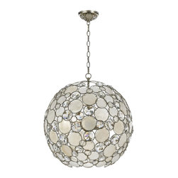 """Crystorama - Crystorama Palla 21"""" Wide Antique Silver Pendant Light - The Crystorama Palla Collection is the perfect balance between vintage and modern. This sparkling pendant light features natural white capiz shells and hand-cut crystals affixed to the antique silver finish wrought iron frame. This fun and elegant lighting fixture will add a fascinating element to your decor. Wrought iron construction. Antique silver finish. Natural white capiz shell. Hand-cut crystals. Takes six 60 watt medium base bulbs (not included). 21"""" wide. 23"""" high.  Wrought iron construction.   Antique silver finish.   Natural white capiz shell.   Hand-cut crystals.   Takes six 60 watt medium base bulbs (not included).   21"""" wide.   23"""" high."""