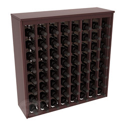 64 Bottle Deluxe Wine Rack in Redwood with Walnut Stain + Satin Finish - Styled to appear as wine rack furniture, this wooden wine rack will match existing decor while storing 64 bottles of wine. Designed to look like a freestanding wine cabinet, the solid top and sides promote the cool and dark storage area necessary for aging wine properly. Your satisfaction and our racks are guaranteed.