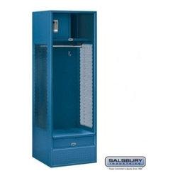 Salsbury Industries - Open Access Standard Metal Locker - 6 Feet High - 24 Inches Deep - Blue - Open Access Standard Metal Locker - 6 Feet High - 24 Inches Deep - Blue - Assembled