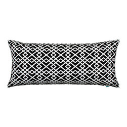 "LaCozi - ""ShaSha"" Black and White Body Pillow Cover - What a body! This intricately patterned cover, made of 100 percent cotton, just made your favorite 20-by-54-inch pillow more fun to hug."