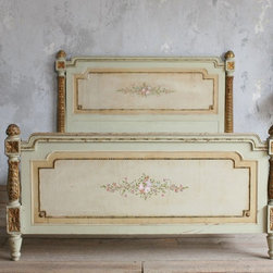 Vintage Shabby Hand Painted French Style Floral Bed - This vintage, shabby chic, French bed is absolutely stunning. I love the details and the color. Just bring some white linens and a comfy mattress, and you can call it heaven.