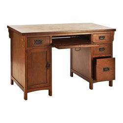 Holly & Martin - Holly & Martin Landon Computer Desk-Brown Mahogany - Finished in brown mahogany and constructed with traditional mission styling, this desk is sure to enhance any room. Multiple drawers combine with a large cabinet to make this desk the perfect solution for cleaning up your cluttered work area. The right side features three drawers that get progressively larger from the top down ending with a deep drawer with storage for larger items. On the left a small storage drawer, perfect for pens and accessories, sits directly above the cabinet that is perfect for holding your computer tower or other large items. Lastly, the keystone of this desk is the slide out keyboard drawer with fold down face over the seating area that provides easy typing access or additional storage. Crafted with solid Asian hardwood legs and durable birch veneer ensures many years of use and beauty.