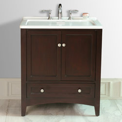 Stufurhome - Espresso Laundry Single Sink Bathroom Vanity - This all-in-one laundry single ink vanity, draped in dark espresso polish, is a masterful combination of simplicity, functionality and charm. The deep rectangular sink, spacious storage and drawers definitely fulfill the needs of modern day living. The contrasting bright white of the sink and the dark espresso finish of the cabinet make this vanity an attention grabber and add a scent of gracefulness to your laundry room.
