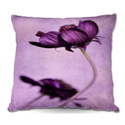 DiaNoche Designs - Pillow Woven Poplin by Iris Lehnhardts Purple Blossoms - Toss this decorative pillow on any bed, sofa or chair, and add personality to your chic and stylish decor. Lay your head against your new art and relax! Made of woven Poly-Poplin.  Includes a cushy supportive pillow insert, zipped inside. Dye Sublimation printing adheres the ink to the material for long life and durability. Double Sided Print, Machine Washable, Product may vary slightly from image.
