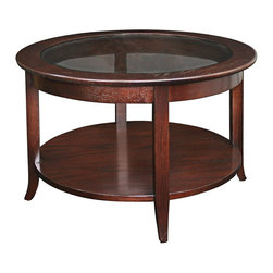 Leick Furniture - Leick Furniture Solid Wood Round Glass Top Coffee Table in Oak - Leick Furniture - Coffee Tables - 10037 - The Leick Solid Wood Round Glass Top Coffee Table is a perfect small space solution. Designed to offer functionality for apartments and condos this coffee table fits right in. The smoked glass top is a great contrast to the rich hand applied multi-step chocolate oak finish. The natural beauty of the solid ash wood construction greets your guests with class and a modern transitional style. The lower display shelf is perfect for magazines and books. Add the matching hall table and end table to the Leick Solid Wood Round GlassTop Coffee Table for a complete small space ensemble.