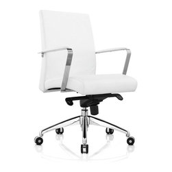 White Line Imports - Clemson Low Back Office Chair in White - Features: