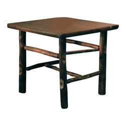 "Black Forest Craft End Table - Simple and clean in design with eco-friendly  hand-harvested hickory saplings for a traditional American look  the Black Forest Craft End Table glows in a warm brown finish. Handmade in the USA  the 1 1/2"" hickory veneer top has a sanded hickory bark edge and burntwood finish. Measures 27 1/2""W x 25 1/2""D x 24 1/2""H. ~ Ships from the manufacturer. Allow 4 to 6 weeks."