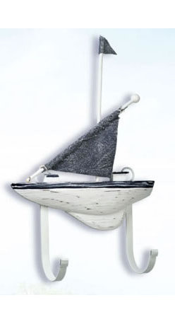 "Wood Sailboat Hanger - The sailboat hanger measures 9.75"" x 14.5"". This item is made of wood and is distressed blue  white in color. It will add a definite nautical touch to whatever room it is placed in and is a must have for those who appreciate high quality nautical decor. It makes a great gift, impressive decoration  will be admired by all those who love the sea."