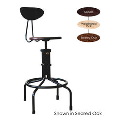 Nuevo Living - V19C-B Counter Stool with Backrest, Seared Oak - If you're a fan of industrial chic, this sculptural stool belongs in your favorite eclectic setting. But don't bring it home for its quirky-cool good looks alone — it's incredibly comfortable, too, thanks to the so-supportive backrest and footrest.