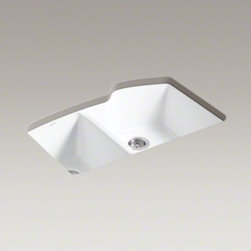 """KOHLER - KOHLER Wheatland(R) 33"""" x 22"""" x 9-5/8"""" under-mount large/medium double-bowl kitc - A fresh new take on traditional sink design, Wheatland offers innovative features in a stylish package. Crafted from enameled cast iron, this sink resists chipping, cracking, or burning for years of beauty and reliable performance. Large/medium bowls allo"""