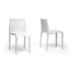 Baxton Studio Blanche White Stackable Molded Plastic Modern Dining Chair - Set o - The Baxton Studios Blanche White Stackable Molded Plastic Dining Chairs, come as a set of 2. The stackable design is great for small spaces and storage when not in use. Made from a single mold in white plastic, there is no assembly. Durable, sturdy and easy to clean. Great for use indoors or out. Long lasting use outdoors is not recommended. Chair dimensions: 17W x 16.5D x 31H inches, seat height: 19 inches. Manufactured in China.