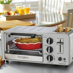 """Waring Pro WTO150 4 Slice Professional Toaster Oven - Making breakfast is a snap with the Waring Pro WTO150 4 Slice Professional Toaster Oven. Toast up to four slices of bread -- two on top and two inside -- or toast bread while you bake an entree cutting breakfast prep time down. Wide toasting slots can hold English muffins or bagels and the large oven can bake a small ham or roast. Easily broil steak fish or burgers with this versatile toaster oven. The broiling pan and drip tray make cleanup simple and quick. Additional Features: Broiling pan and drip tray allow easy cleaning Broil steak fish or burgers Measures 10.5L x 19W x 8H inches About WaringIf you've ever used a blender you can thank Fred Waring inventor of the """"""""blendor"""""""" or as he first called it """"""""the disintegrating mixer."""""""" That was back in 1936. Since then he has changed the name to blender and established Waring a global company that proudly makes professional-quality kitchen products. The company has two product divisions: Waring Pro and a commercial division. In recent years Waring Pro has broadened its market reach with everything from deep fryers and waffle makers to wine chillers and food dehydrators."""
