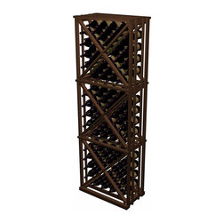 Wine Cellar Innovations - Open Diamond Cube Designer Series in Rustic Pine, Dark Walnut Stain - The Open Diamond Cube is similar to the Solid diamond cube, but is constructed of more affordable 1x2's and does not include face trim for a significant cost savings. Each wooden wine rack is 1 column wide x 3 cubes high. Each cube is comprised of 4 quadrants holding 10 bottles each. Product requires assembly. Please note: molding packages are available separately.