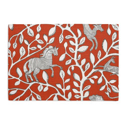 Red Modern Animal Motif Custom Placemat Set - Is your table looking sad and lonely? Give it a boost with at set of Simple Placemats. Customizable in hundreds of fabrics, you're sure to find the perfect set for daily dining or that fancy shindig. We love it in this sketched african animal & vine motif in modern rust red. be wild & wonderful!