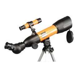 Vixen Nature Eye Childrens Telescope - Take this Scope with you and get up close to nature. The Nature Eye is lightweight and durable. Take it with you on all your outdoor adventures. The sturdy table top tripod sets up quickly and easily. Use the Peep Site to find your object and the 45° Click Stop Diagonal will keep it in sight. Includes a 10mm Eyepiece. Effective Aperture: 50mm Focal Length: 360mm Resolving Power: 2.32 arc sec. Finder Scope: 5x20mm Visual Back: Insertion 31.7mm push fit Eyepiece: H10 Altazimuth Mount Other Accessory: Table Top Tripod; 2x Barlow Lens Total Weight: 3 lbs