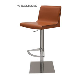 Nuevo - Colter Adjustable Bar Stool in Ochre - Polished Stainless Steel Base. Leather Upholstery. CFS Foam. Tone-On-Tone Stitching. Tone-Tone-Edging. Color:Ochre. 16.5 in. L x 17.75 in. W x 30.5 in. H ( 40.9 lbs.). Seat Height: 21-30.75 in.. Seat Depth: 14 in.