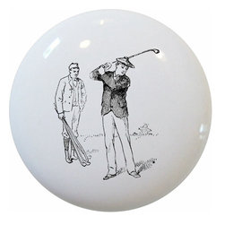 Carolina Hardware and Decor, LLC - Vintage Golf Golfing Ceramic Knob - New 1 1/2 inch ceramic cabinet, drawer, or furniture knob with mounting hardware included. Also works great in a bathroom or on bi-fold closet doors (may require longer screws).  Item can be wiped clean with a soft damp cloth.  Great addition and nice finishing touch to any room.
