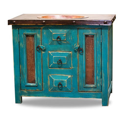 Rustic Vanity with Drop in Sink, 60x20x36 - This rustic vanity is a great addition to any bathroom! The metal panels in the doors make a very rustic, yet elegant appearance. The drop in sink is hammered copper and compliments the colors in the metal panels.