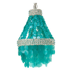 "Kouboo - ""Small Manor Capiz Seashell Chandelier, Turquoise"" - Add a little island style to your interiors with this bold and beautiful chandelier. Made of capiz shells, coconut disks and beads, it'll look charming over your kitchen table, in your teen's room or in the bath."