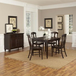 Home Styles - Home Styles Bermuda Espresso 5 Piece Dining Set Dark Brown - 5542-318 - Shop for Dining Sets from Hayneedle.com! The Home Styles Bermuda Espresso 5 Piece Dining Set mixes British colonial and old world tropical together and brings them home for dinner. This beautifully-crafted set includes a dining table with leaf and four chairs. The set is crafted of mahogany solids and mahogany and albazia veneers in a rich espresso brown finish. Details include turned and tapered legs fiddle back chair designs and an 18-inch removable leaf.About Home StylesHome Styles is a manufacturer and distributor of RTA (ready to assemble) furniture perfectly suited to today's lifestyles. Blending attractive design with modern functionality their furniture collections span many styles from timeless traditional to cutting-edge contemporary. The great difference between Home Styles and many other RTA furniture manufacturers is that Home Styles pieces feature hardwood construction and quality hardware that stand up to years of use. When shopping for convenient durable items for the home look to Home Styles. You'll appreciate the value.