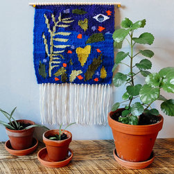 Woven Wall Hanging Tapestry, 'Observing Growth' by Liz Toohey-Wiese - I love all the texture and color in this hanging tapestry. It reminds me of something I might find in a small shop in a little village somewhere.