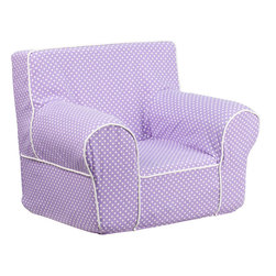 Flash Furniture - Flash Furniture Small Lavender Dot Kids Chair with White Piping - This comfy foam chair is a fun piece of furniture for children to enjoy for reading and relaxing. The lightweight design with carrying handle will allow this chair to be toted in several locations. The slipcover can be removed for cleaning or spot cleaned upon accidents.
