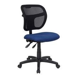 Flash Furniture - Mesh Fabric Task Chair w Foam Padded Seat - A height adjustable task chair takes you from computer work to manual projects with simple lever controls. This is a practical choice for home offices and is styled for cubicles and administrative areas, too. The mesh back is contoured and enhanced with lumbar support. Mesh backed ergonomic task chair with Navy Blue fabric upholstered seat. 3 in. Thick foam padded seat. Breathable mesh fabric back. Height adjustable ratchet back. Ergonomically contoured back. Pneumatic seat height adjustment. Locking back posture adjustment. Heavy duty nylon base. Dual wheel casters. Seat: 20 in. W x 18 in. D. Back: 18 3/4 in. W x 17 1/4 in. - 19 3/4 in. H. Seat Height: 17 1/2 - 22 1/2 in. H. Overall: 25 1/4 in. W x 24 1/2 in. D x 35 1/2 - 41 1/4 in. H