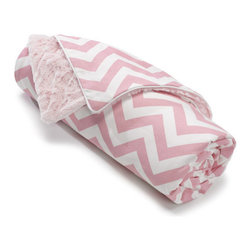 Liz and Roo - Pink Chevron Receiving Blanket - Welcome home your baby girl with this beautiful pink and white chevron blanket. Reverses to soft minky, perfect for cuddling!