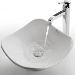 Kraus - White Tulip Ceramic Sink and Ramus Faucet (Chrome) - Finish: Chrome