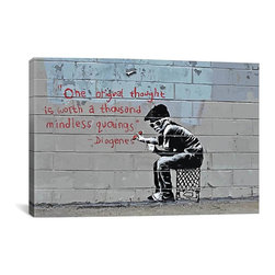 """Banksy - Banksy Canvas Print // One Original Thought Worth a Thousand Quotings // 26"""" H x - Museum-quality canvas print by Banksy gallery wrapped and ready for wall hanging with no additional framing required. The canvas print is remarkably bright in color and unrivaled in detail with quality ink that has been light-tested to last over 100 years!"""
