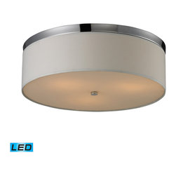 Elk Lighting - Flush Mounts LED 3-Light Flush Mount in Polished Chrome - Frosted glass diffuser - LED, 800 lumens (2400 lumens total) with full scale dimming range, 60 watt (180 watt total)equivalent , 120V replaceable LED bulb included.