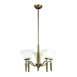 "Lite Source - Lite Source LS-10325 5 Light Up Lighting Chandelier Daffodil Collection - 5-Lite Ceiling LampTwo distinctive designs that will enhance your living and dining spaces. This 5-lite ceiling fixture and wall lamp come with bronze finish and silk white glass shades.60W x5 Incandescent B Type Bulbs (Bulbs Included)38"" Height, 21"" Diameter (Fixture)6.5""H x 5""D Glass ShadeShade Dimensions: 6.5"" x 5"""