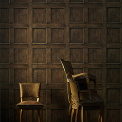Kathy Kuo Home - Traditional Aged Wood Panel Wallpaper - Oak - The grain of wood meets the ease of paper in this trompe l'oeil wall covering. Available in five refined shades, it creates the stately look of paneling for your favorite traditional setting.