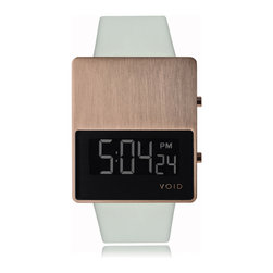 VOID Watches - V01EL Watch - Copper Case w/ Gray Strap - VOID Watches - V01EL uses architectural materials in a simple, geometric form. The chunky, rectangular stainless steel case contains a digital display with time & date and a blue-green EL backlight function, protected by a mineral glass window. The Has a premium gray leather strap and brushed IP copper finish with matching buckle on the casing.