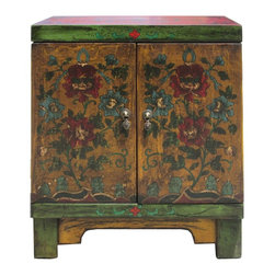 "Golden Lotus - Oriental Green Yellow Red Flower End Table Nightstand - Dimensions:  w20"" x d14""x  h24"""