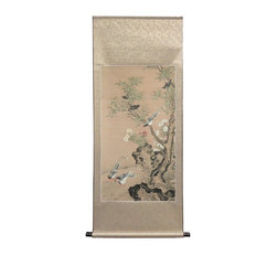 Golden Lotus - Chinese Print Birds Tree Scenery Scroll Painting - This is a print copy oriental scroll painting with birds gathering  scenery.