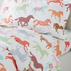 Garnet Hill - Garnet Hill Kids' Pony Up Flannel Bedding - Double - Pony - Pony Up flannel bedding is a sophisticated update on an imaginative motif made popular by our beloved Painted Ponies bedding. These supersoft pure cotton flannel sheets showcase horses in a mix of patterns and colors, perfect for the aspiring equestrian, veterinarian or cowgirl. Fitted sheet is fully elasticized for a better fit.  Twin set includes 1 flat sheet, 1 fitted sheet and 1 standard case. Double and Queen sets include 1 flat sheet, 1 fitted sheet and 2 standard cases.
