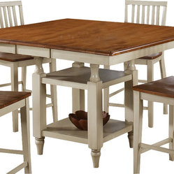 Steve Silver Candice 54x42 Counter Height Table in Oak and White w/ 12 Inch Butt
