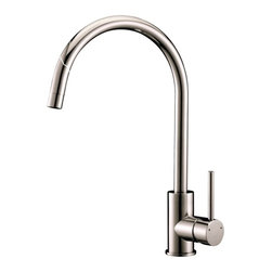 Ruvati - Ruvati RVF1110BN Single Handle Kitchen Faucet - Stainless Steel - This premium Ruvati kitchen faucet from the Cascada collection is constructed of solid brass giving it exceptional durability. The ceramic disc cartridge ensures drip-free functionality. The faucet can be installed into countertops up to two inches thick. Hot and cold water connection hoses are included.