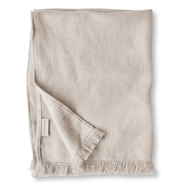 The Linen Works - Chalk Fringe Linen Throw - Our Fringe Throws are perfect for draping over a sofa or across a bed. Made from our heavier Motte linen with a fringe border. Also available in Pale Grey and Charcoal.
