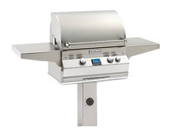 """Fire Magic - Aurora A430s2A1NG6 In-Ground Post Mount NG Grill - A430 In-Ground Post Mount Grill with Rotisserie Backburner, Grill Light & Infrared Burner System Aurora A430s-G6 Features: Cast stainless steel """"E"""" burners - guaranteed for life"""