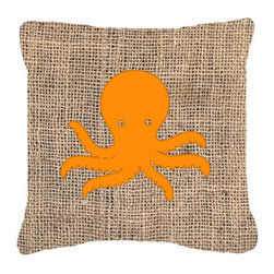 Caroline's Treasures - Octopus Burlap and Orange Fabric Decorative Pillow Bb1090 - Indoor or Outdoor Pillow from heavyweight Canvas. Has the feel of Sunbrella Fabric. 18 inch x 18 inch 100% Polyester Fabric pillow Sham with pillow form. This pillow is made from our new canvas type fabric can be used Indoor or outdoor. Fade resistant, stain resistant and Machine washable..